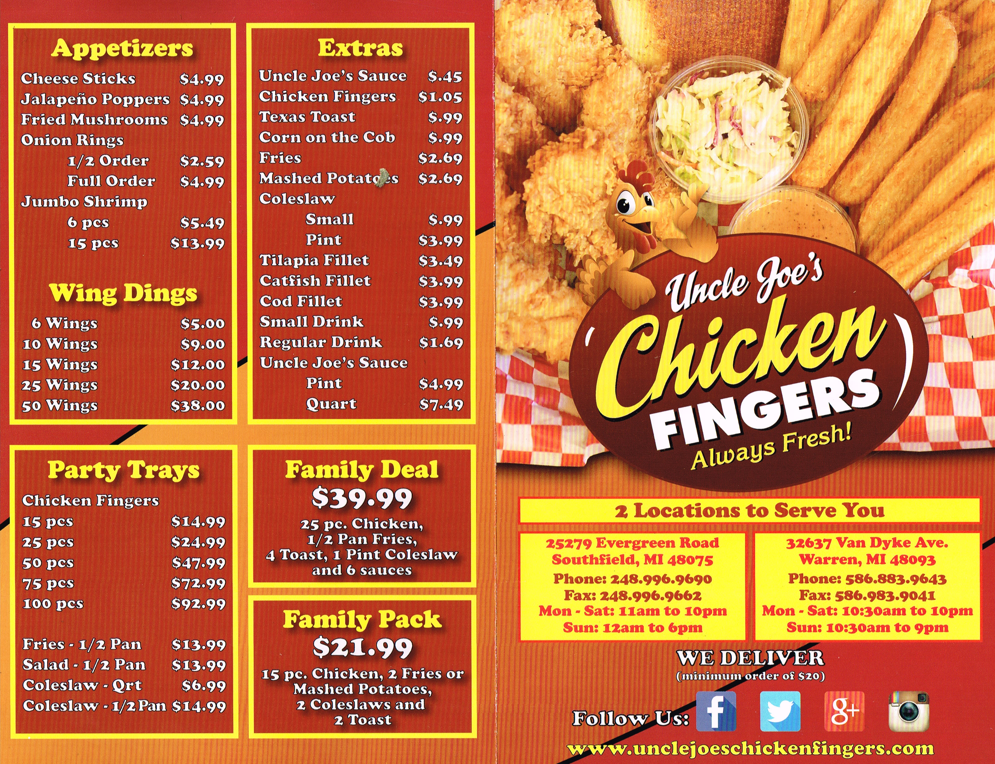 Warren Michigan Chicken Fingers (586)883 9643 | Uncle Joe's